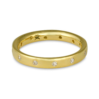 Flat Comfort Fit Wedding Ring 3x2mm with Gems in 18K Yellow Gold