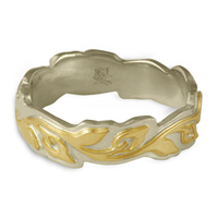Medium Borderless Flores Wedding Ring in 14K White Borders and Base/18K Yellow Center Design