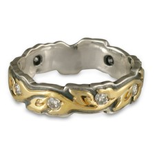 Medium Borderless Flores Wedding Ring with Gems in 18K Yellow Design/Sterling Base