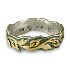 Medium Borderless Flores Wedding Ring in 18K Yellow Design/Sterling Base