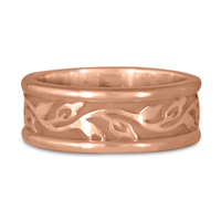 Medium Bordered Flores Wedding Ring in 14K Rose Gold