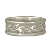 Medium Bordered Flores Wedding Ring in 14K White Gold