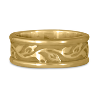 Medium Bordered Flores Wedding Ring in 14K Yellow Gold