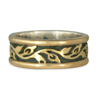 Medium Bordered Flores Wedding Ring in 18K Yellow Borders/18K Yellow Gold Center/Sterling Base