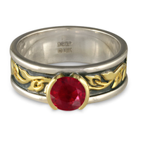 Bordered Flores Engagement Ring in Ruby