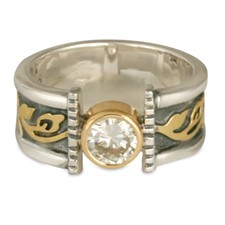 Medium Flores Open Engagement Ring in Sterling Silver Borders & Base w 18K Yellow Gold Center
