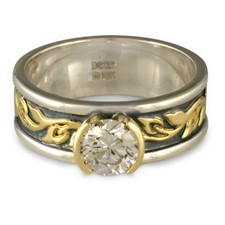 Bordered Flores Engagement Ring in Sterling Silver Borders & Base w 18K Yellow Gold Center