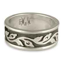 Medium Bordered Flores Wedding Ring in Sterling Silver