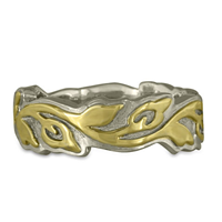Wide Borderless Flores Wedding Ring in 14K White Base with 18K Yellow Design