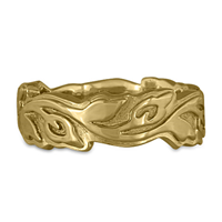 Wide Borderless Flores Wedding Ring in 14K Yellow Gold