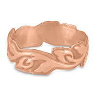 Wide Borderless Flores Wedding Ring in 14K Rose Gold
