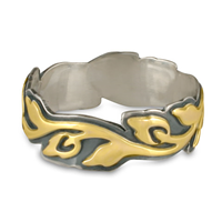 Wide Borderless Flores Wedding Ring in 18K Yellow Design/Sterling Base