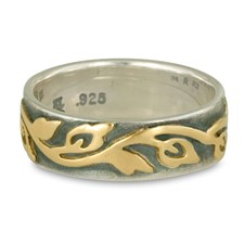 Wide Borderless Flores Wedding Ring Edge in 18K Yellow Gold Design w Sterling Silver Base