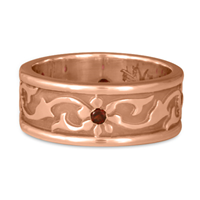 Bordered Persephone Wedding Ring with Gems in 14K Rose Gold
