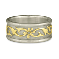 Bordered Persephone Wedding Ring in 14K White Borders and Base/18K Yellow Center Design
