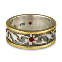 Bordered Persephone Wedding Ring with Gems in Garnet