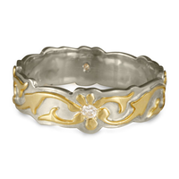 Borderless Persephone Wedding Ring with Gems in 14K White Base with 18K Yellow Design