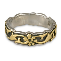 Borderless Persephone Wedding Ring in 18K Yellow Gold Design w Sterling Silver Base