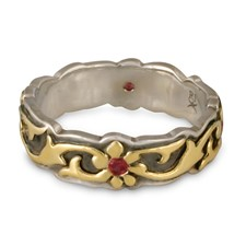 Borderless Persephone Wedding Ring with Gems in 18K Yellow Design/Sterling Base