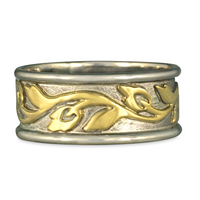 Wide Bordered Flores Wedding Ring in 14K White Gold Borders & Base w 18K Yellow Gold Center