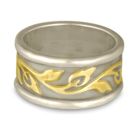 Wide Bordered Flores Wedding Ring in 14K White Borders and Base/18K Yellow Center Design
