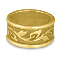 Wide Bordered Flores Wedding Ring in 14K Yellow Gold