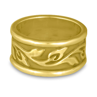 Wide Bordered Flores Wedding Ring in 18K Yellow Gold
