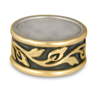Wide Bordered Flores Wedding Ring in 18K Yellow Borders/18K Yellow Gold Center/Sterling Base