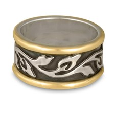 Wide Bordered Flores Wedding Ring in Sterling Silver Center & Base w 14K Yellow Gold Borders