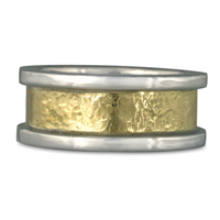 King s Ring Hand Hammered Wedding Ring  in Sterling Silver Borders & Base w 18K Yellow Gold Center