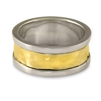 King s Ring Hand Hammered Wedding Ring  in Sterling Borders/18K Yellow Center/Sterling Base