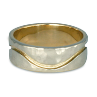 River Wedding Ring 8mm Hammered in 14K Yellow Base with 14K White Design