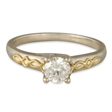 Felicity Solitaire Engagement Ring in 14K White Gold Base w 18K Yellow Gold Center