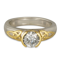 Trinity Solitaire Engagement Ring in 14K White Base with 18K Yellow Design