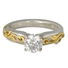 Flores Solitaire Engagement Ring in 14K White Base with 18K Yellow Design