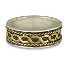 Rope Twist Wedding Ring in Sterling Borders/18K Yellow Center/Sterling Base