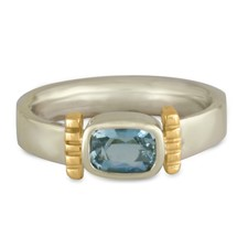Ohara Ring in 14K Yellow Gold Center w 14K White Gold Base