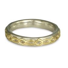 Felicity Comfort Wedding Ring in 14K White Gold Base w 18K Yellow Gold Center