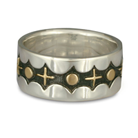 Moon and Stars Ring in 14K Yellow Design/Sterling Base