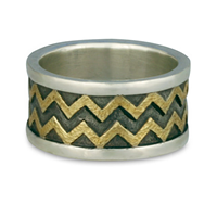 Zig Zag Ring in Sterling Borders/18K Yellow Center/Sterling Base