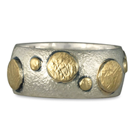 Bubble Ring in 14K Yellow Gold Design w Sterling Silver Base