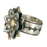 Kamala Ring in 14K Yellow Gold Design w Sterling Silver Base