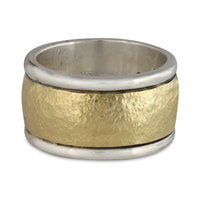 Wistra Ring  in Sterling Borders/18K Yellow Center/Sterling Base