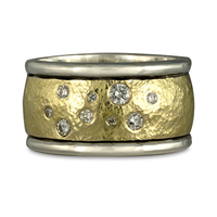 Wistra Ring with Diamonds in Sterling Borders/18K Yellow Center/Sterling Base