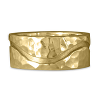 River Gold Wedding Ring 10mm Hammered  in 14K Yellow Gold