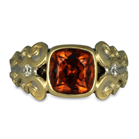 Cascade Ring with Zircon in 14K White Gold Base w 18K Yellow Gold Center