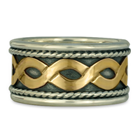 Donegal Twist Ring in 14K Yellow Gold Design w Sterling Silver Base