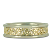 Trinity Strand Ring in 14K White Gold Borders & Base w 18K Yellow Gold Center