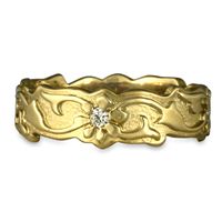 Borderless Persephone Wedding Ring with Gems in 18K Yellow Gold