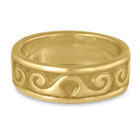 Bordered Ravena Wedding Ring in 14K Yellow Gold